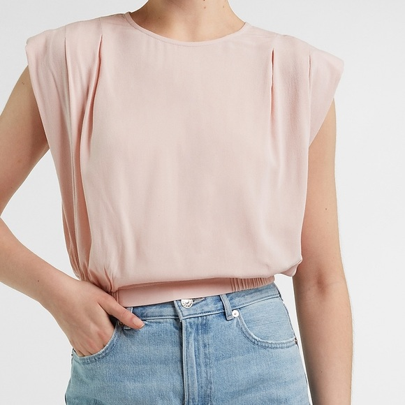 New With Tag Cropped Padded Shoulder Pink Top